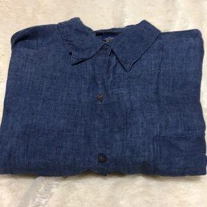 Charter Club Blue Linen Blouse Size XL